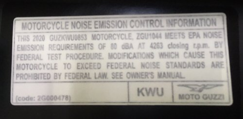 OEM Moto Guzzi Noise Emission Decal - 2G000478