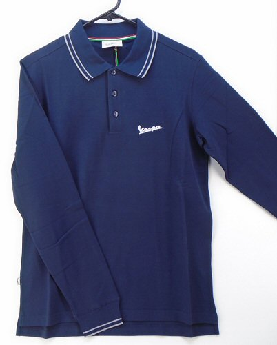 Vespa Accessories Men's Long Sleeve Polo, Blue