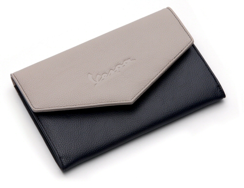 Vespa Synthetic Leather Document Holder Grey/Creme
