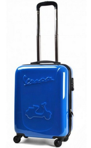 Vespa Embossed Hard Side Carry On Luggage, Blue
