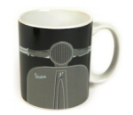 Coffee Mug Vespa Shape in Greyscale 12 oz