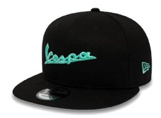 OEM Vespa Flat Bill Ball Cap, Black&Teal - 606841M