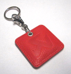 Akrapovic Red Leather Keychain Square
