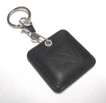 Akrapovic Black Leather Keychain Square