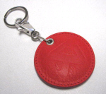 Akrapovic Red Leather Keychain Round