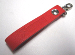 Akrapovic Red Leather Keychain Loop