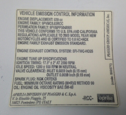 Emission control sticker - 860571