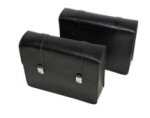 Natural Leather Side Bags, Black for V7