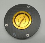 CNC Racing Carbon Fiber Gas Cap Assembly, Gold