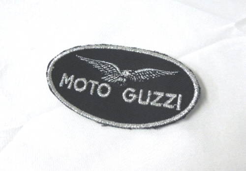 Small Black Moto Guzzi Patch 3.15 x 1.75 inches