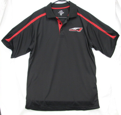 AF1 Racing Tri-Mountain Black Polo Shirt