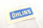 Ohlins Decal, Blue on Transparent 5/8  by 1.75
