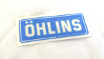 Ohlins Decal, Blue on Transparent 1.75 by 5
