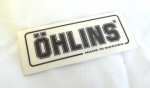 Ohlins Decal, Black on Transparent 1.75 x 3 inches