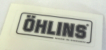 Ohlins Decal, Black on Transparent 5/8  by 1.75