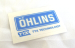 Ohlins Decal, Blue on Transparent 1 by 1.75 inches