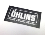Ohlins Decal, Silver on Black .9 x 2.0 inches