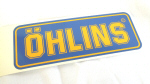 Ohlins Decal, Yellow on Blue 1.75 x 4.9 inches