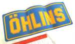 Ohlins Decal, Yellow on Blue 9 x 23 inches