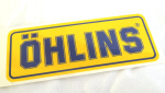 Ohlins Decal, Blue on Yellow 1.9 x 5