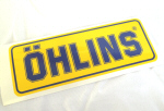 Ohlins Decal, Blue on Yellow 2.1 x 5.9 inches