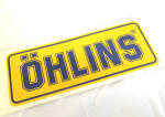 Ohlins Decal, Blue on Yellow 3 x 8.1 inches