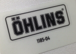 Ohlins Decal, Black on Transparent .75 by 2 inches
