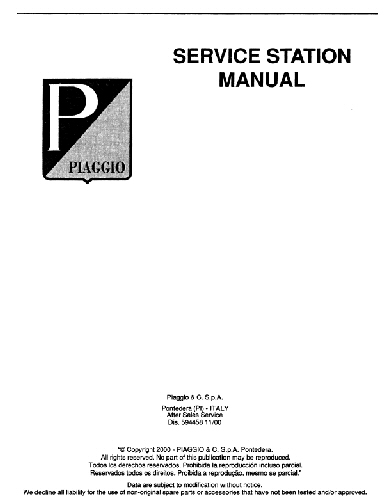 OEM Piaggio Workshop Manual - Typhoon 50cc