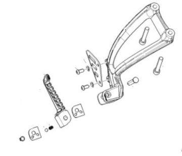 Picture of OEM Aprilia RH Passenger Footpeg Assembly - 2B0081935