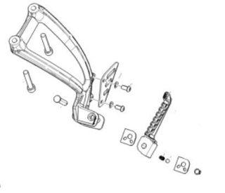 Picture of OEM Aprilia LH Passenger Footpeg Assembly - 2B0081905