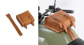 OEM Moto Guzzi Leather Tank Pouch, Brown -605991M